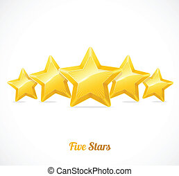 Vector star rating with five gold stars concept - Vector...