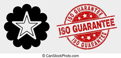 Vector Star Rosette Icon and Scratched ISO Guarantee Stamp