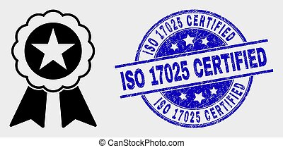 Vector Star Seal Icon and Distress ISO 17025 Certified Stamp