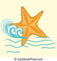 vector,  starfishe, Ilustración, icono