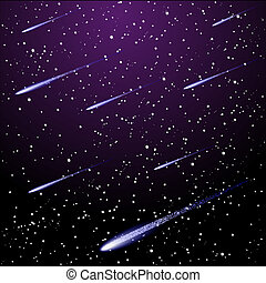 Vector starry night sky with meteor shower