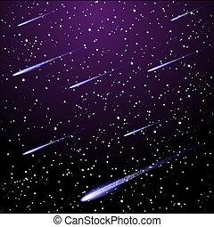 starry night sky - Vector starry night sky with meteor...