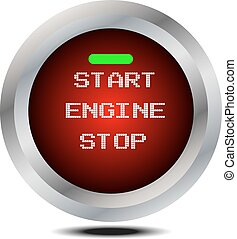 vector start stop engine button isolated