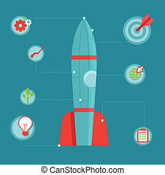 Vector start up concept in flat style - infographic design...