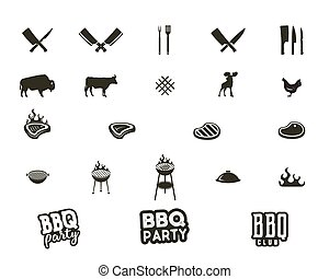 Vector Steak house and grill silhouette textured icons.