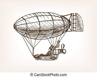 vector, steampunk, dirigible, vuelo, mecánico, bosquejo
