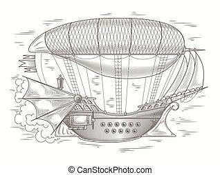 Vector steampunk illustration of a fantastic wooden flyin ...