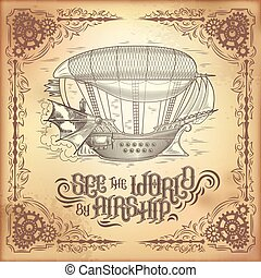Vector steampunk poster, illustration of a fantastic wooden flying ship