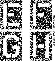 vector stencil angular spray font