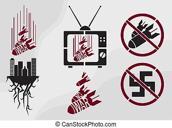 Vector stencil in propaganda style - Vector no war stencil...