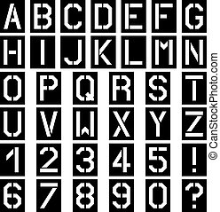 vector stencil square font alphabet number