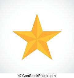 vector, ster, goud, toewijzen, pictogram