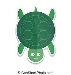 Vector sticker cartoon illustration of a cute smiling happy turtle character