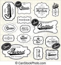 vector, sticker, set, retro, etiket