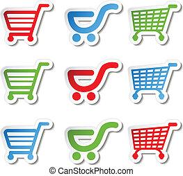 Vector sticker, shopping cart, trolley, item, button