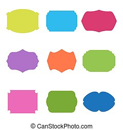 Vector stickers, frames, blank vintage colorful labels set