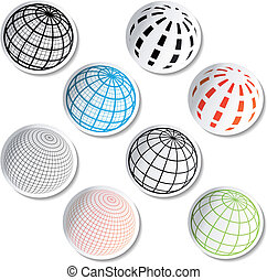 Vector stickers of globe