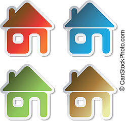 Vector stickers of home
