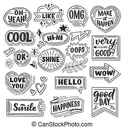 Vector stickers of quotes and sound blasts