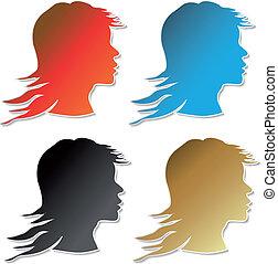 Vector stickers of women