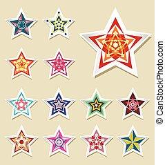 Vector stickers Star vintage.