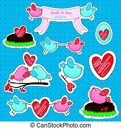 Vector stickers with birds in love and friendship.