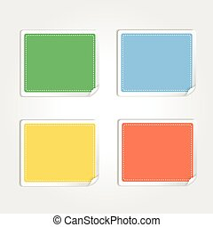 Vector stickers with curled edge isolated on white background