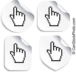 Vector stickers with cursor of hand