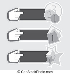 Vector stickers with hand cursor