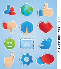 vector stickers with social media icons