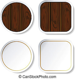 Vector stickers - wood and blank
