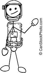 Vector Stickman Cartoon of Astronaut in the Spacesuit