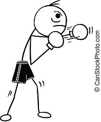 Vector Stickman Cartoon of Boxer with Boxing Gloves -...
