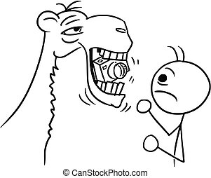 Vector Stickman Cartoon of Camel Eating a Camera Belonging to a Tourist