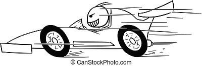 Vector Stickman Cartoon of Formula Driver