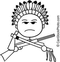 Vector Stickman Cartoon of Indian Tribal Chief - Cartoon...