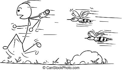Vector Stickman Cartoon of Male Tourist Running Away Followed by Two Angry Bees or Wasps
