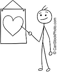 Vector Stickman Cartoon of Men Pointing at Sign with Heart Symbol