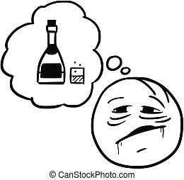 Vector Stickman Cartoon of Thirsty Drinker Dreaming About Alcohol