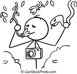 Vector Stickman Cartoon of tourist smelling the Flower and Holding a Snake in Second Hand