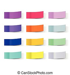 Vector sticky notes isolated on white. Colored paper ...