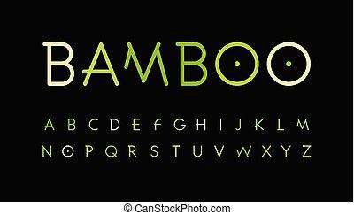 vector, stijl, set, alphabet., tak, natuur, letters., tropisch bos, symbols., groene, mager, font., natuurlijke , bamboe, aziaat, typeset., bos