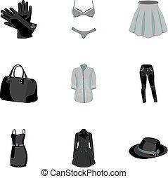 vector, stijl, set, bovenkleding, pictogram, vrouw, afbeeldingen, symbool, kleren, ondergoed, verzameling, vrouwen, over, girls., liggen, monochroom, illustration., clothing., types, vrouwen