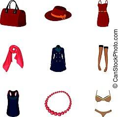 vector, stijl, set, bovenkleding, pictogram, vrouw, afbeeldingen, symbool, kleren, ondergoed, verzameling, vrouwen, girls., liggen, over, illustration., clothing., spotprent, types, vrouwen