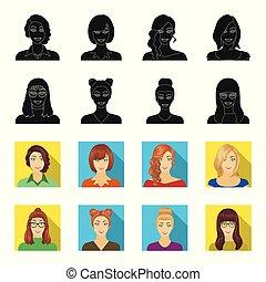 vector, stijl, set, iconen, black , web., symbool, bril, verzameling, gezicht, vrouw, illustratie, uiterlijk, meisje, hairdo., liggen
