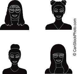 vector, stijl, set, iconen, web., symbool, bril, verzameling, gezicht, vrouw, black , illustratie, uiterlijk, meisje, hairdo., liggen