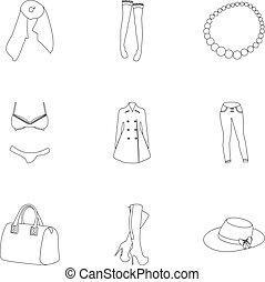 vector, stijl, set, illustration., pictogram, vrouw, kleren, afbeeldingen, symbool, schets, ondergoed, verzameling, vrouwen, girls., liggen, types, over, clothing., bovenkleding, vrouwen