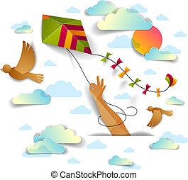 vector, stijl, vliegende kite, concept, vrijheid, op, moderne, hemel, bewolkt, hand, snijden document, vasthouden, easiness, emotioneel, 3d, zon, vogels, illustration.
