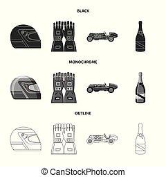 vector, stock., auto, voorwerp, vrijstaand, verzameling, hardloop, verzameling, logo., pictogram
