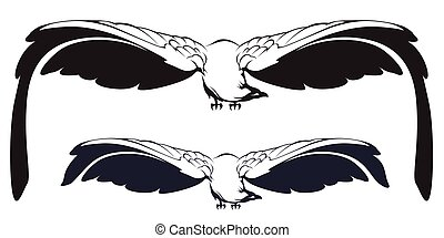 Eagle with outstretched wings.
